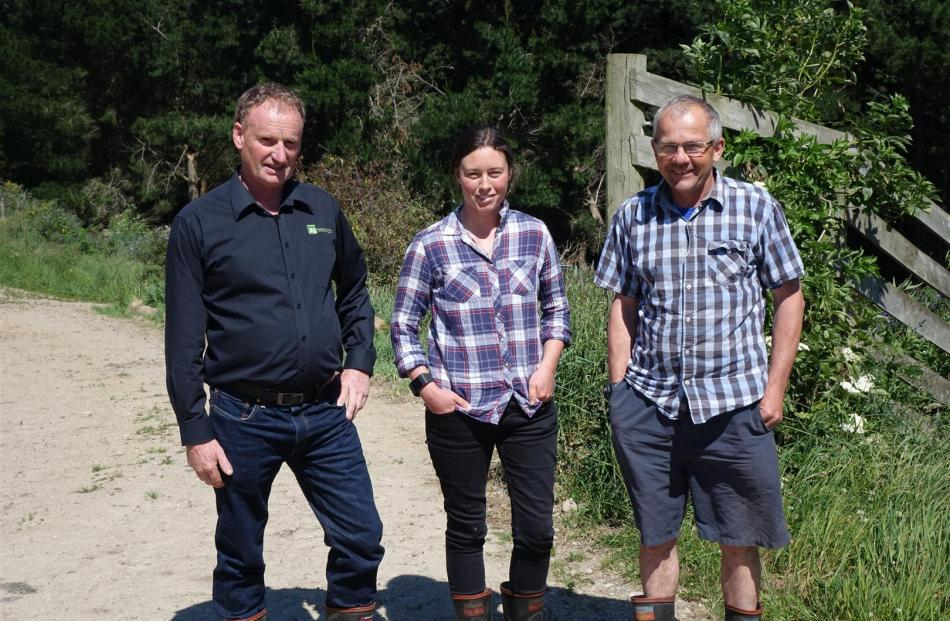 AgResearch's Invermay farm at Mosgiel is managed by Kevin Knowler (left) and his staff Rachel Worth and Brett Hurley. The team won two Otago Ballance Farm Environment Awards recently. Photos: Supplied