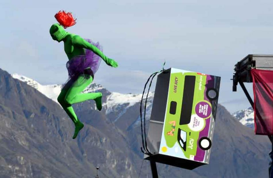 Dumping his ride . . . Lewis Batterbee, of Queenstown, competes in the birdman competition.