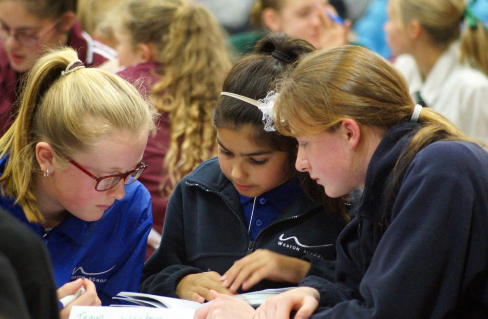 Weston School pupils (from left) Kate Mortimer (11), Taliyah Mathewson (11) and Emma Spittle (12)...