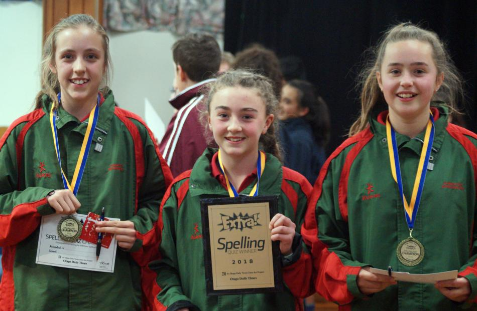 The Ashburton Intermediate team (from left), Laura Winchester, Laura Jensen and Molly McKenna ...