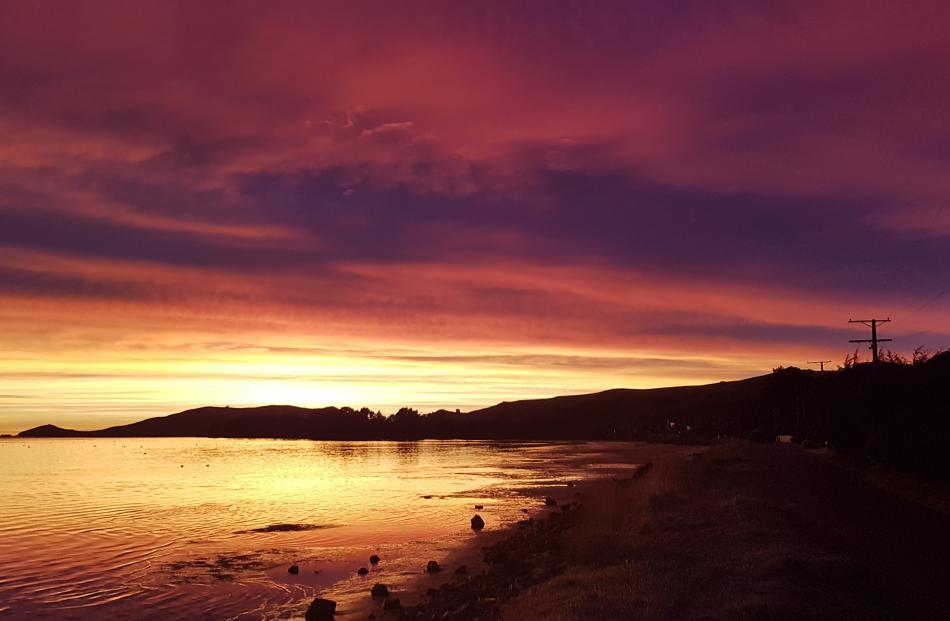 Sunrise taken fron Harwood looking out towards Taiaroa Head. Photo: Leah Dawson