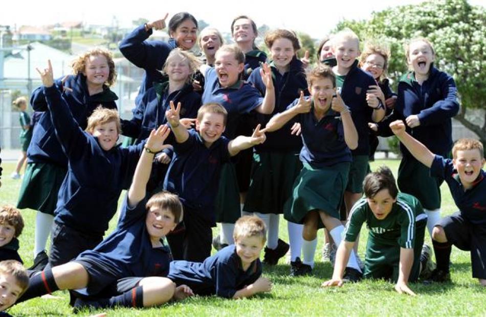 Pupils enjoy their lunch break.