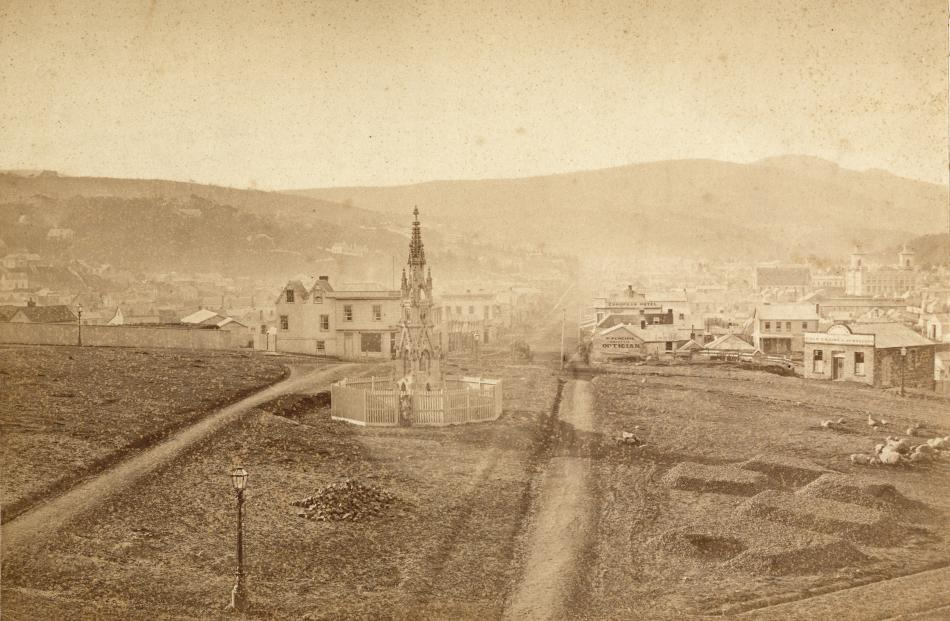 Dunedin (north) from the Octagon, 1867. Silver albumen on card. PHOTO: HENRY A. FRITH. HOCKEN...
