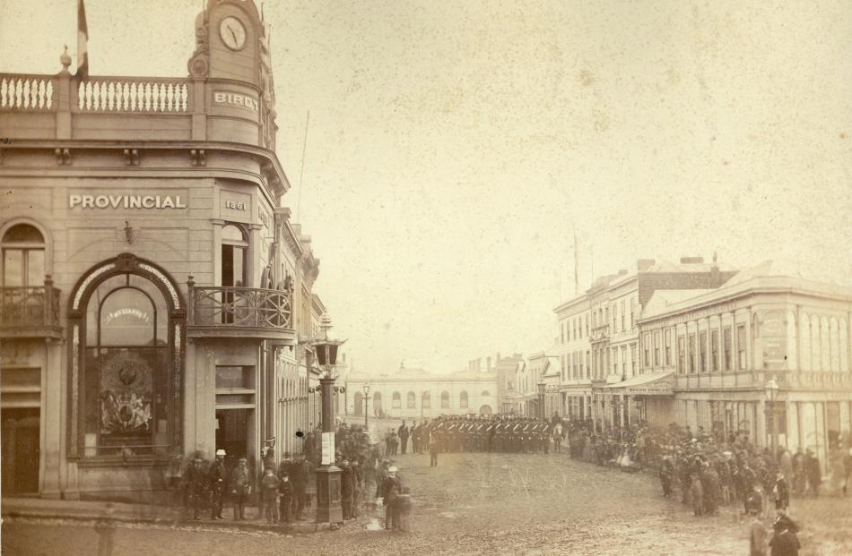 Manse St, Dunedin, May 24, 1867. Silver albumen paper on card. PHOTO: HENRY A. FRITH.  HOCKEN...