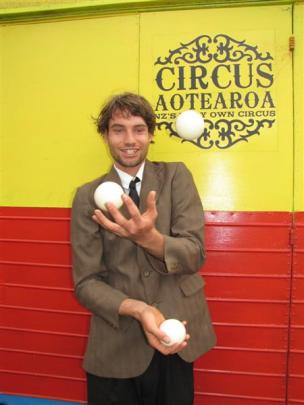Juggler and ladder balancer Luke Forrester (19) has come all the way from Motueka. Photos by...