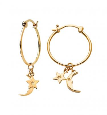Karen Walker Moon & Star Charm hoops in cold