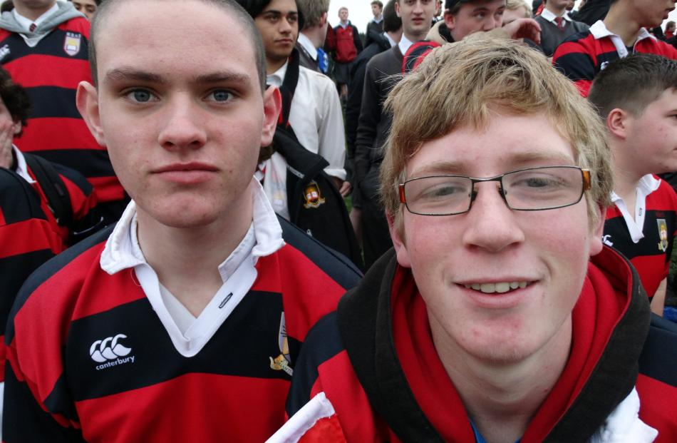 Quintin Jones (17, left) and Bradley McIntosh (17), of Oamaru.