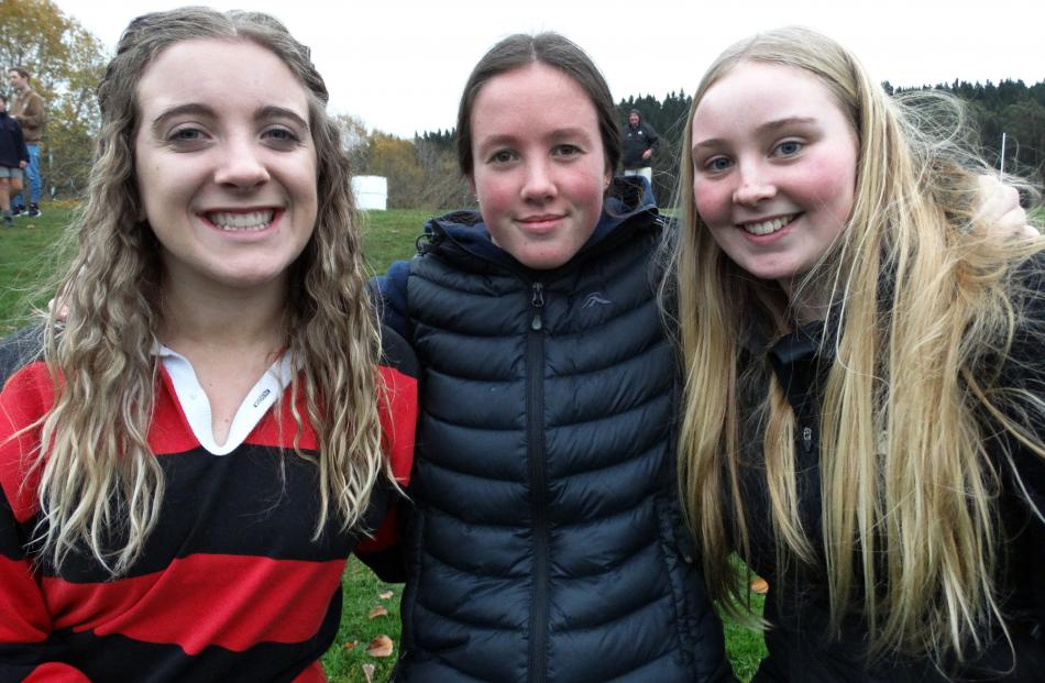 Lily Stock (16, left), Ruby Smaill (17) and Sam Trewavas (16), of Oamaru.