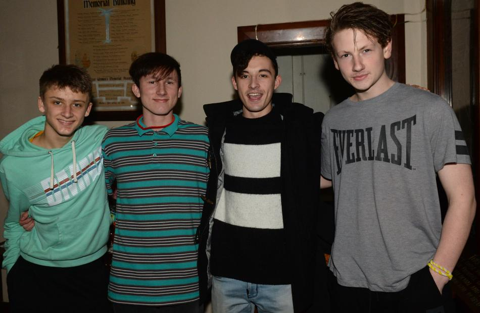 Jacob Woodcock (16), of Dunedin, Sam Pitchers (16), of Dunedin, Josh Glennie (16), of Mosgiel, and Jacob Roos (15), of Dunedin.