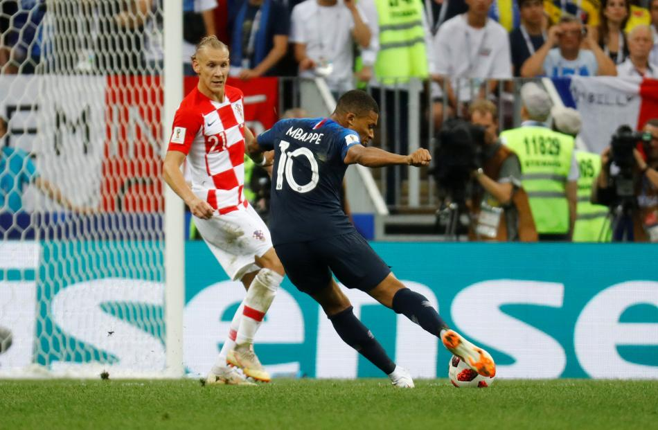 France's Kylian Mbappe scores their fourth goal. Photo: Reuters