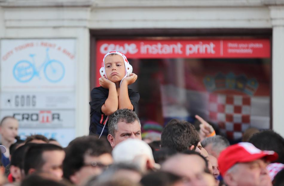 Croatia's fans watch the broadcast of the match at the Zagreb's main square. Photo: Reuters
