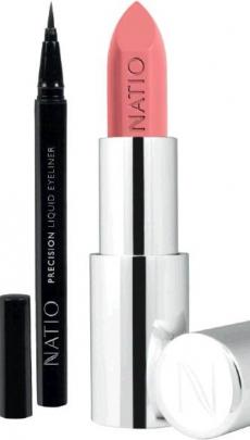 Liquid eyeliner (left) and naturally nude lip colour. Photo: supplied