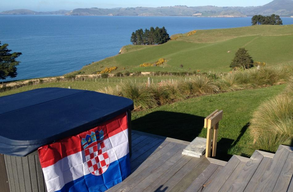 The Croatian flag flies from the spa at the Karitane property.