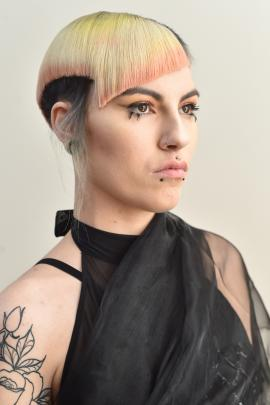 Model Stella Allen strikes a pose. Her stylist was Liana King, of Moha Hairdressing.