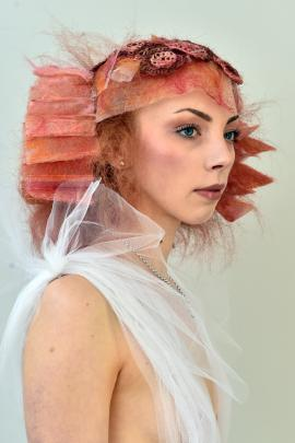 Katherine Fowler sports a creation designed by Klone Hair's Danelle Radel. Photos: Gregor Richardson