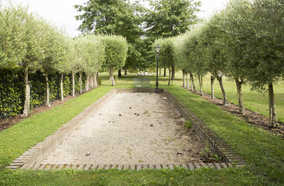 The petanque court at Jason and Janine Gunn's is surrounded by pleached olive trees.