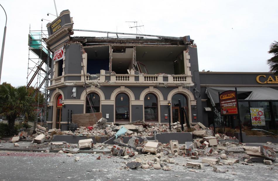 The damaged Carlton Hotel. Photo by Pam Johnson/NZPA