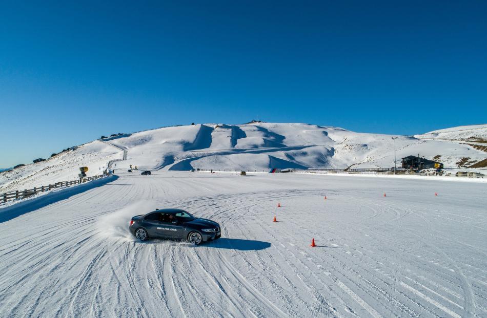 Drifting in the beautifully balanced BMW M2 at Southern Hemisphere Proving Grounds near Wanaka....
