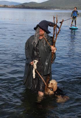 Te Anau Pharmacist, corporate plunger George Batchelor aka Captain Cook braves the chilly waters...