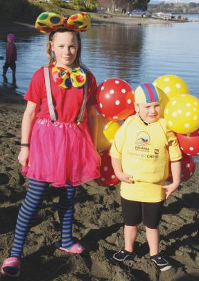 Hannah Norris and 5-year-old brother DJ ready for the polar plunge in their fancy dress. DJ was a...
