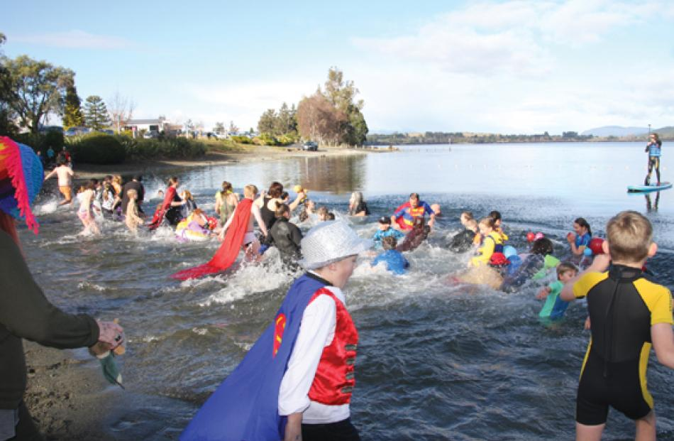 Plungers braving the chilly waters.