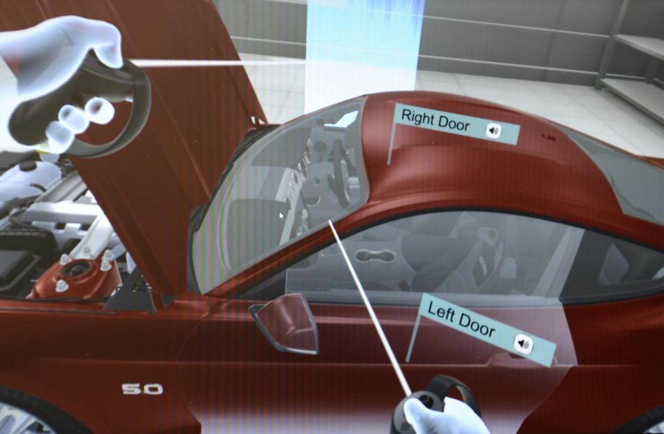 A screenshot of the virtual garage program.