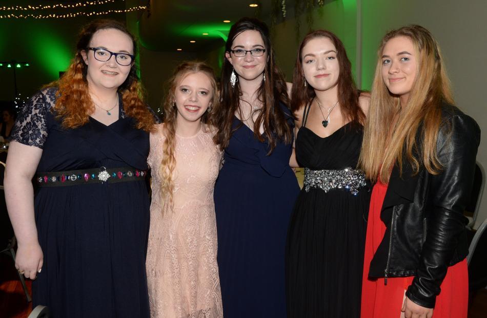 Elena McCracken, Danielle Jenkins, Caitlin Coker, Lillie Reggett and Kiyana Kareroa (all 16), all of Dunedin.