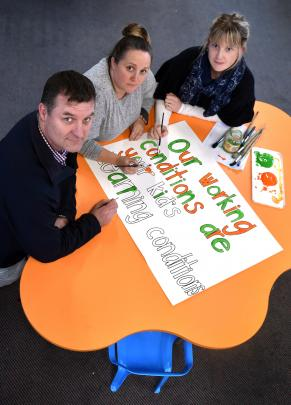 Elmgrove School principal Chris McKinlay and teachers (from left) Carlie Sinclair and Melissa...