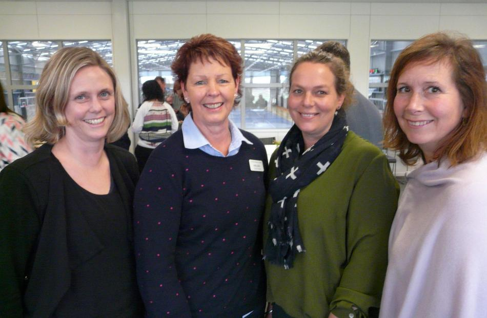Jolene Ollerenshaw, Helen Keen and Kate Anderson, all of Clutha Health First, and Melanie Burgess, of Owaka.