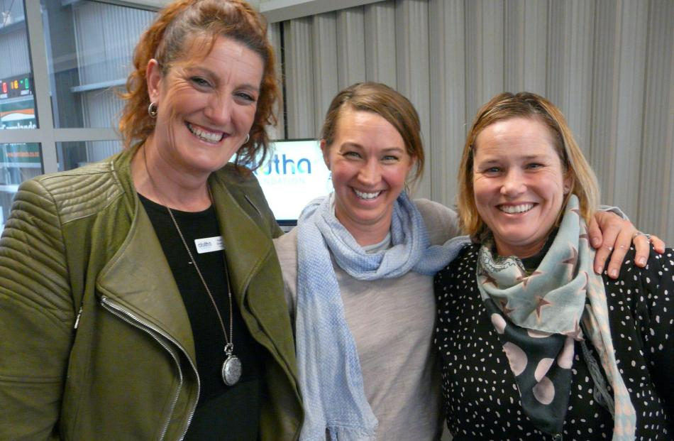 Clutha Foundation trustee Kelli Divers, of Milton, and Laura Hunter and Camille McAtamney, both of Clydevale.