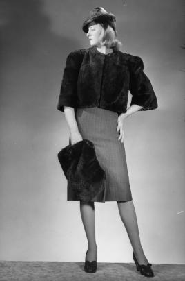 Mooneys Furs cropped jacket and muff, 1940s. Photo: Clifton Firth, courtesy of Auckland Libraries...