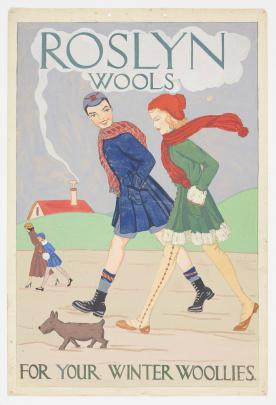 Roslyn Knitting Mills advertisement illustrated by Heather masters, 1931. Image: Te Papa