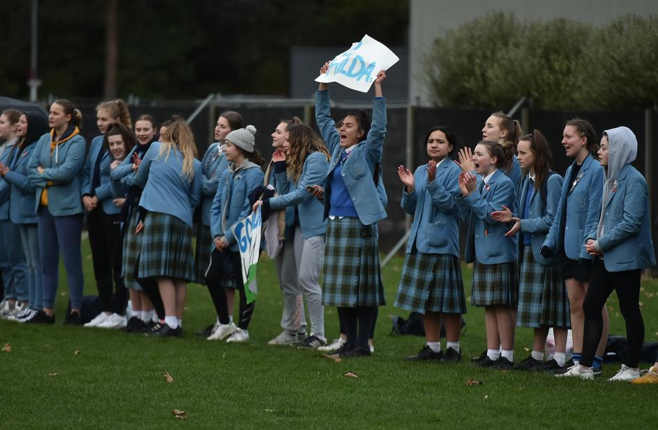 The crowd watches St Hilda's play Otago Girls' in the Otago Metro Secondary Schoolgirls First XV...