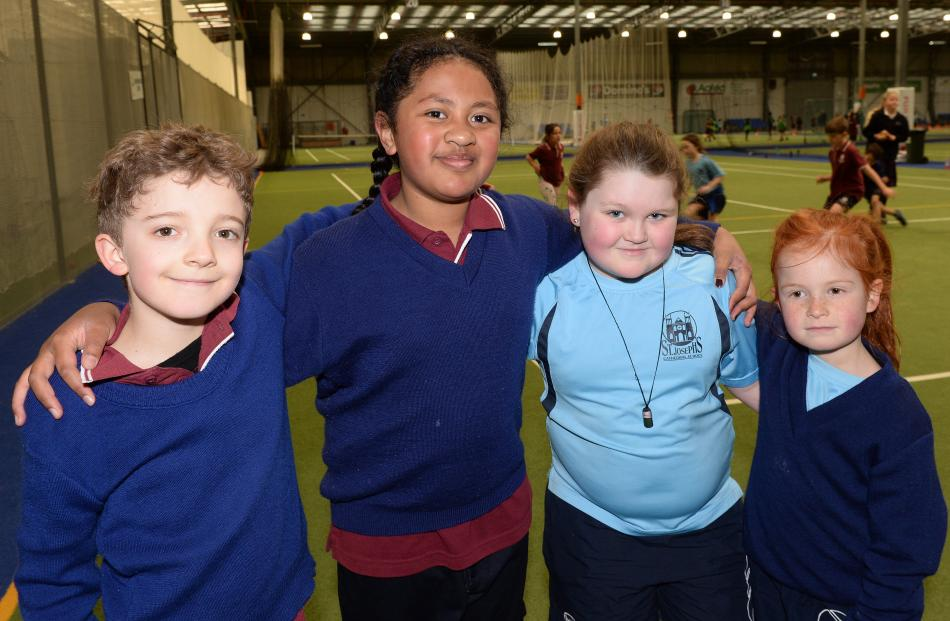 Ezra Bennett and Kaliti Nabalagi (both 8), of St Bernadette's School, Olivia Holt and Mela Shanks...