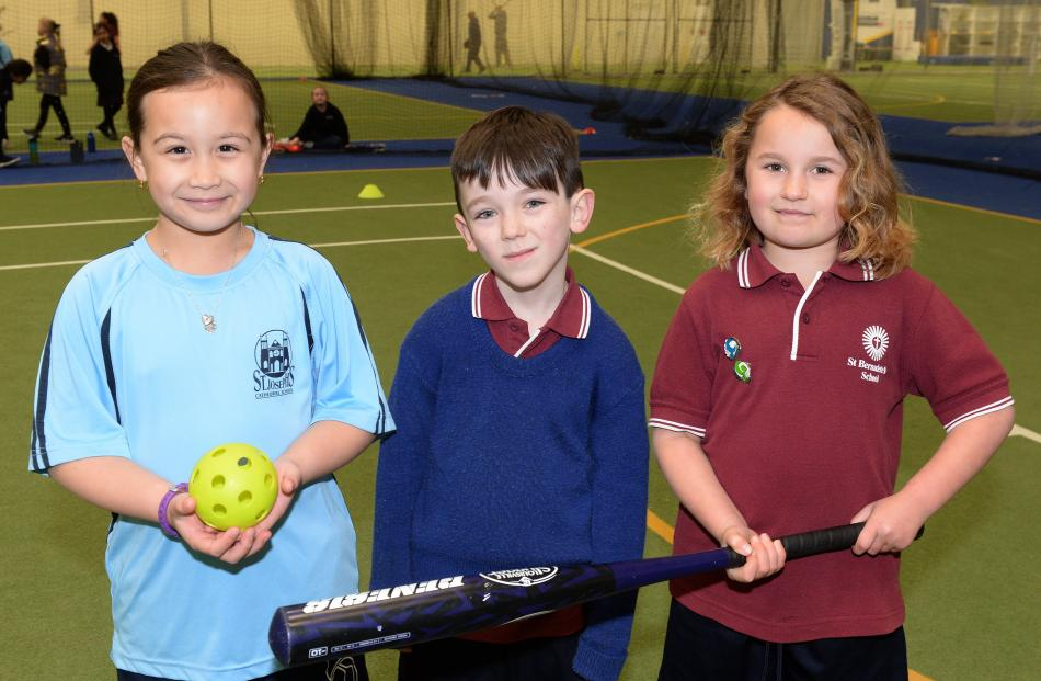 Errin Wilson (8), of St Joseph's Cathedral School,  and Rhiley McHoull (7) and Charlotte Hesson ...