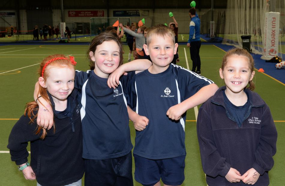 Chloe Hogan (8), Rebecca Ramsay (8), Mitchell Pawsey (7) and Harper Clark (7), all of St Peter...