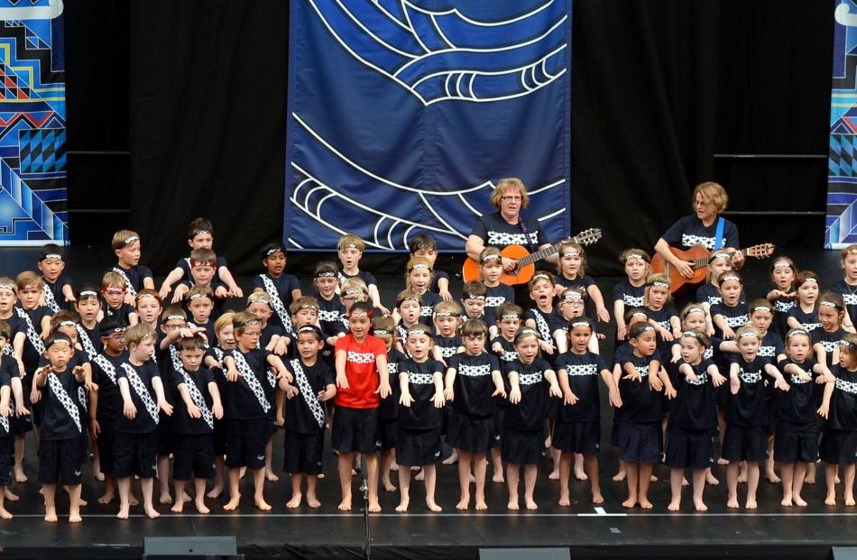 Dunedin primary school pupils from Grant Brae's School take to the stage at Polyfest 2016. Photo:...