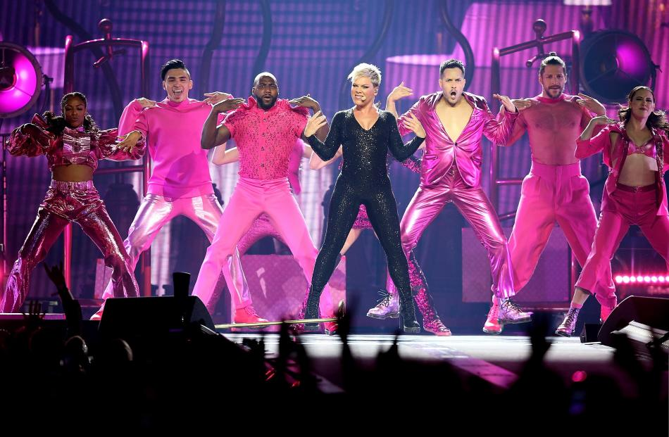 Brailsford performs alongside Pink in Perth in July. Photo: Getty Images