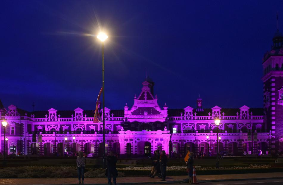 The Dunedin Railway Station went pink on Friday  and Saturday nights. PHOTO PETER MCINTOSH