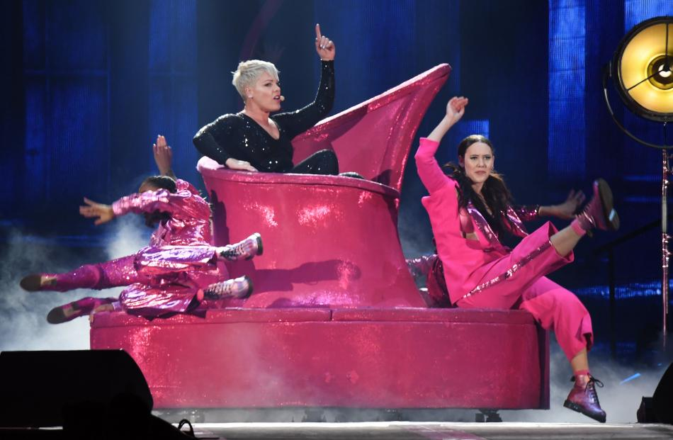 Pink performs one of her hit songs, So What. PHOTO: STEPHEN JAQUIERY