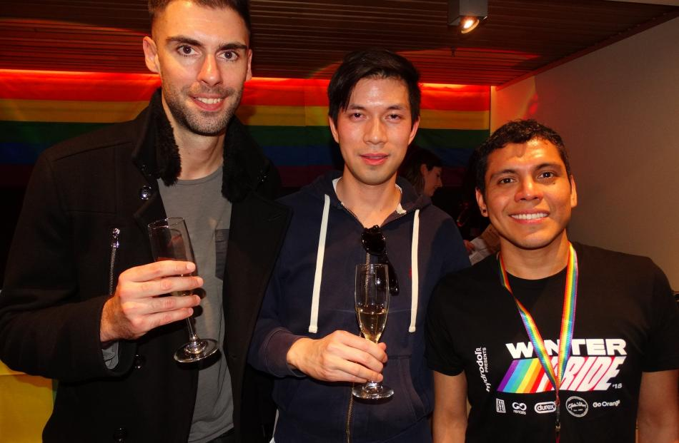 Jeremy Jackson, of Sydney, Jamie Forteza, of Sydney, and Jorge Cruzado, of Lima, Peru.