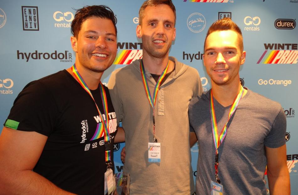 Mr Gay World Jordan Bruno, of Perth, Josef Sabo, of Melbourne, and Joel Green, of Melbourne.