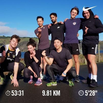 A team training run towards Port Chalmers. William Wallace, Ashley Howse, Marcus Leung, Zain...
