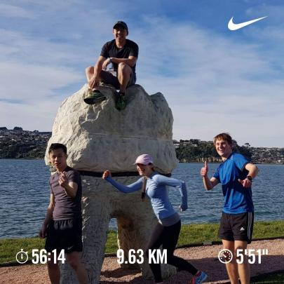 Team training run at the Harbour Mouth Molars. Pictured left to right are Marcus Leung, Alastair...