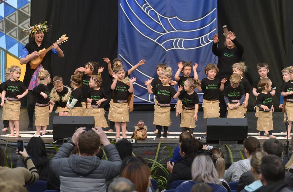 Portobello Kindergarten pupils take to the stage during Dunedin's 25th Polyfest at the Edgar...
