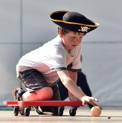Connor Still (8), of North East Valley School, is a pirate captain in ''Battleship'', an activity...