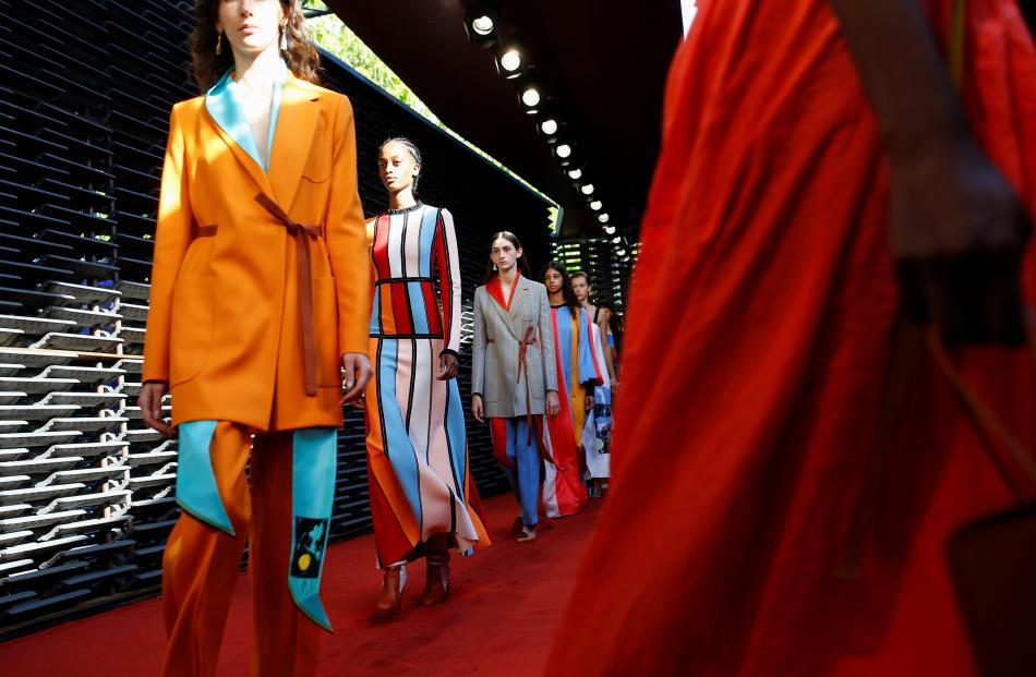 Models present creations at the Roksanda catwalk show at London Fashion Week. Photo: Reuters
