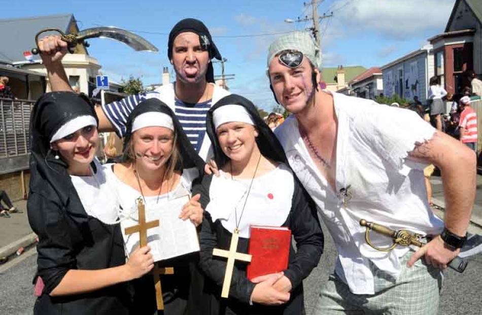 Dressed as nuns are Josie Brough (20), Leigh Johnstone (21),...