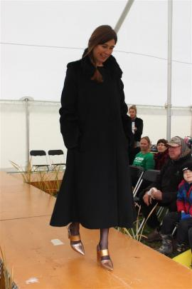 Sarah Sharp, of Waynestown, flaunts a coat from the label Lapin made by Dunedin designer Jane Avery.
