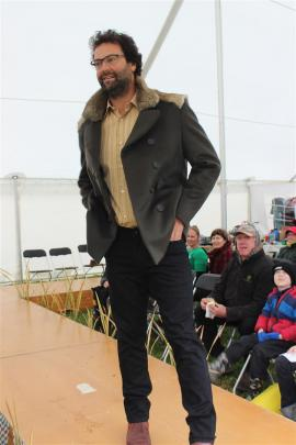 Stefan Sharp, of Waikouaiti, shows off one of the male jackets from Lapin made by Dunedin designer Jane Avery.